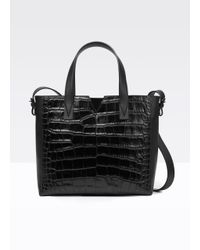 Vince Black Stamped Crocodile Tote Bag