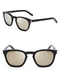 Saint Laurent - Black Mirrored Wayfarer Sunglasses - Lyst