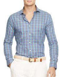 Pink Pony | Blue Slim Fit Checked Poplin Shirt for Men | Lyst