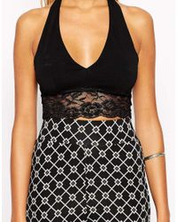 ASOS | Black Lace Trim Halter Crop Top | Lyst