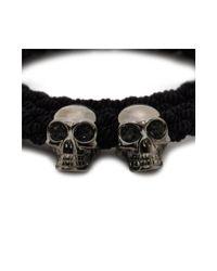 Alexander McQueen Black Double Braid Bracelet for men