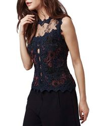 TOPSHOP | Black Lace Overlay Illusion Shell | Lyst