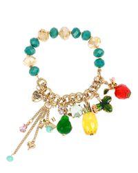 Betsey Johnson | Metallic Tutti Frutti Stretch Charm Bracelet | Lyst