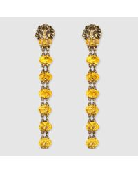 Gucci - Metallic Lion Head Earrings With Crystals - Lyst