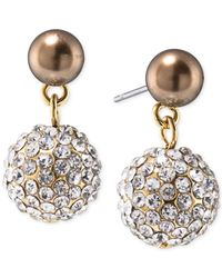 Carolee | Metallic Top Of The Rock Gold-tone Brown Imitation Pearl Crystal Drop Earrings | Lyst