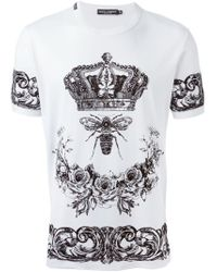 Dolce & Gabbana White Crown & Bee Print T-shirt for men