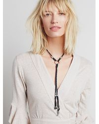 Free People Black Womens Lawless Leather Bolo