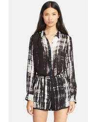 A.L.C. | Black 'Song' Print Silk Blouse | Lyst