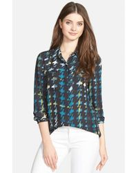 Halogen | Blue Pocket Front Print Blouse | Lyst