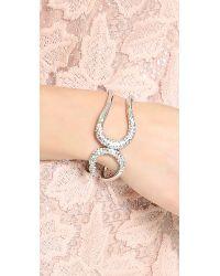 Alexis Bittar Metallic Crystal Encrusted Hinged Bracelet Rhodium