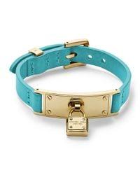 Michael Kors - Blue Leather Wrap Padlock Bracelet Turquoisegolden - Lyst