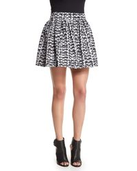 Alice + Olivia Black Fizer Box-pleated Glasses Skirt