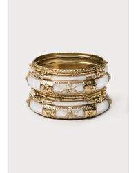 Bebe | Metallic Tribal Resin Bangle Set | Lyst
