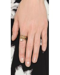 Rebecca Minkoff Metallic Imitation Pearl & Crystal Charm Ring Set - Gold/pearl/clear