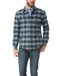 Band of Outsiders | Blue Quilted Shirt Jacket for Men | Lyst