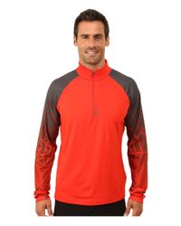 Spyder - Red Linear Web Dry W.e.b.™ T-neck Top for Men - Lyst
