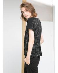 Mango - Black Contrast Print Blouse - Lyst