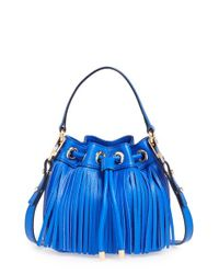 MILLY - Blue 'small Essex' Fringed Leather Bucket Bag - Lyst