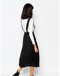 Monki - Black Pinafore Midi Skirt - Lyst