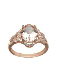Lord & Taylor | Metallic 14k Rose Gold Morganite And Diamond Ring | Lyst