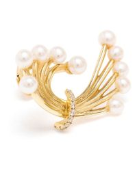 Yvonne Léon | Metallic Diamond And Pearl Bouquet Earring | Lyst