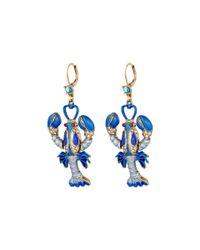 Betsey Johnson | Into The Blue Lobster Drop Earrings | Lyst