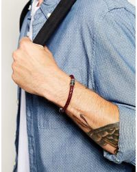 Ted Baker | Red Plaited Leather Bracelet for Men | Lyst