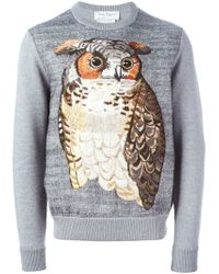 Ferragamo - Gray Embroidered Owl Sweater for Men - Lyst