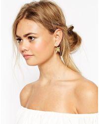 ASOS - Metallic Big Flower Swing Earrings - Lyst