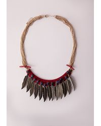 Missguided | Red Woven Leaf Detail Necklace | Lyst