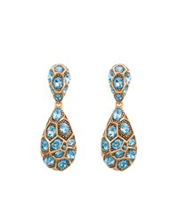 Oscar de la Renta | Blue Pave Crystal Geometric Earrings | Lyst