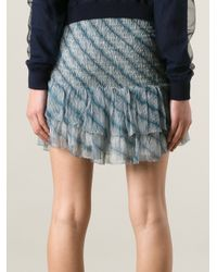 Étoile Isabel Marant - Blue Ruched Ruffle Skirt - Lyst