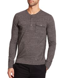 VINCE | Black Long Sleeve Two-pocket Henley for Men | Lyst
