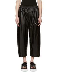 MM6 by Maison Martin Margiela - Black Faux Leather Pants - Lyst