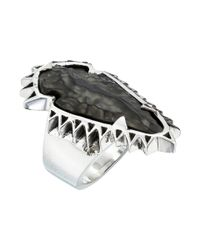 King Baby Studio - Metallic Carved Jet Arrowhead In Sawtooth Ring Setting - Lyst
