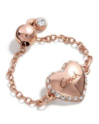 COACH Pink Adjustable Puffed Heart Ring