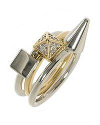 Noir Jewelry - Metallic 3 Mix Stackable Ring Set - Lyst