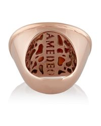 Amedeo | Pink Rose Gold-plated Carnelian Shell Monkey Cameo Ring | Lyst