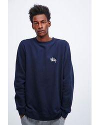 Stussy Blue Basic Logo Sweatshirt in Navy for men
