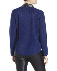 Qi | Blue Cashmere Cable Front Sweater | Lyst