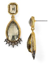 Alexis Bittar Metallic Crystal Studded Spur Trimmed Pyrite Doublet Earrings