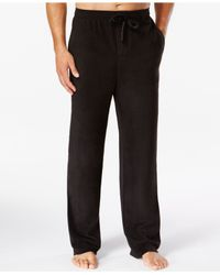 Perry Ellis | Black Solid Fleece Pajama Pants for Men | Lyst