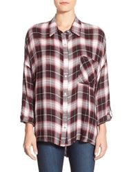 Bobeau | Black Split Back High/low Plaid Shirt | Lyst