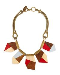 Lela Rose | Metallic Colorblock Wooden Necklace | Lyst