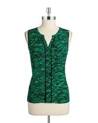 Calvin Klein | Green Split Neck Shell | Lyst