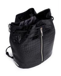 Elizabeth and James Black 'cynnie Sling' Croc Effect Leather Bucket Bag