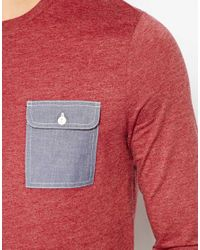 ASOS | Red Three Quarter Sleeve T-Shirt with Chambray Pocket for Men | Lyst