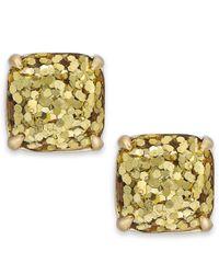 Kate Spade - Metallic Gold-tone Small Square Stud Earrings - Lyst