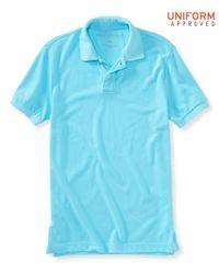 Aéropostale | Blue Solid Uniform Piqué Polo for Men | Lyst