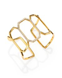 Elizabeth and James - Metallic Mediterranean Pave White Topaz Open Cuff Bracelet - Lyst